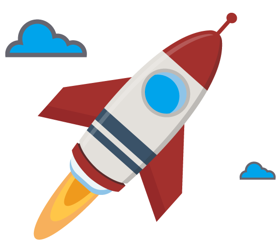 illustration of a rocket ship in the clouds